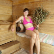 Girl is steamed in the sauna - Lizenzfreies Foto