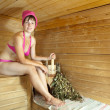 Girl is steamed in  sauna - Lizenzfreies Foto