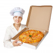 Cook with  pizza. Isolated over white — Stock Photo