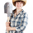 Stock Photo: Young womwith spade