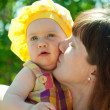Royalty-Free Stock Photo: Happy mother kissing  baby daughter