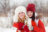 Ragazze felici a winter park — Foto Stock