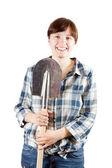 Happy woman with spade — Стоковое фото