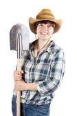 Young woman with spade — Stock Photo