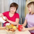 Girls have tea with cookies — Stock Photo #8140063