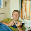 Mature man   in sleeper train — Stockfoto