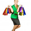 Happy girl holding shopping bags — ストック写真