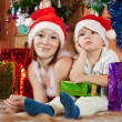 Mother and  son with Christmas gifts - Stok fotoğraf