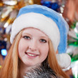 Royalty-Free Stock Photo: Girl in blue Christmas hat