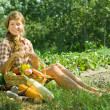 Girl with basket of harvest — Stock Photo
