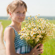 Girl with bouquet — Stock Photo