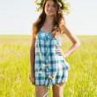 Stock Photo: Girl in flower chaplet