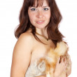 Royalty-Free Stock Photo: Naked girl covered fox fur