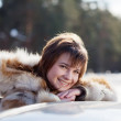 Stock Photo: Happy womnear her car