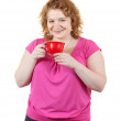 Fat unsightly woman with cup — Stock Photo