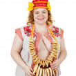 Erotic shot of woman in Russian folk clothes — Stock Photo