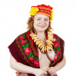 Woman in Russian folk clothes — Stock Photo