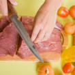 Royalty-Free Stock Photo: Cook hands cutting beef