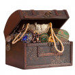 Wooden treasure trunk — Stock Photo