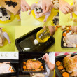 Preparation stuffed chicken — Stock Photo