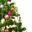 Christmas fir tree on white background — 图库照片