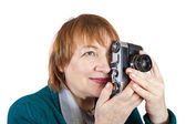 Senior photographer with analog camera — Stock Photo