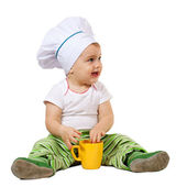 Baby cook white background — Stock Photo