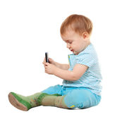 Year-old child using mobile — Stockfoto