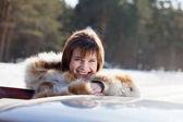 Portrait of woman near her car — Stock Photo