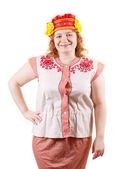 F woman in Russian folk clothes — Stock Photo