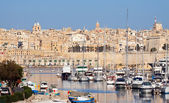 View of Senglea and yachts — Stock Photo