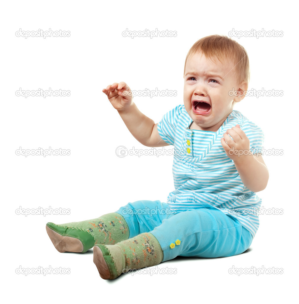 Crying baby of one year old  over white background  Stock Photo #8141758