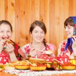 Women in traditional clothes celebrating Shrovetide — Stock Photo