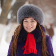 Woman wearing winter coa — Stock Photo