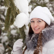 P girl in wintry pine  forest — Stok fotoğraf