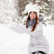 Young woman throwing snow — Stock fotografie