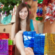 Happy girl celebrating Christmas — Stockfoto