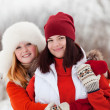 Girls  in winter park — Stock Photo