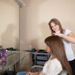 Hair stylist working with long-haired girl - Stockfoto