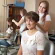 Stylist works on woman hair in salon - Stock Photo