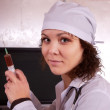 Nurse  with syringe in clinic — Stock Photo