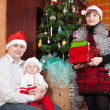 Stock Photo: Family in christmas hats