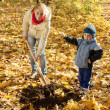 Woman with  preschooler  setting tree in autumn - Stockfoto