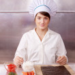 Cook woman making sushi rolls — Stock Photo #9007196