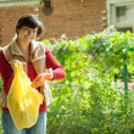 Woman fertilizes the soil — Stock Photo #9007370