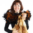 Girl in feathers clothes  girl with fox fur - Stock Photo