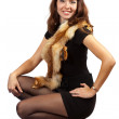 Girl with fox fur over white — Stock Photo