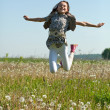 Jumping teenager girl — Stock Photo