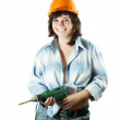 Happy girl with drill - Stock Photo