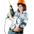Girl with drill over white — Stock Photo